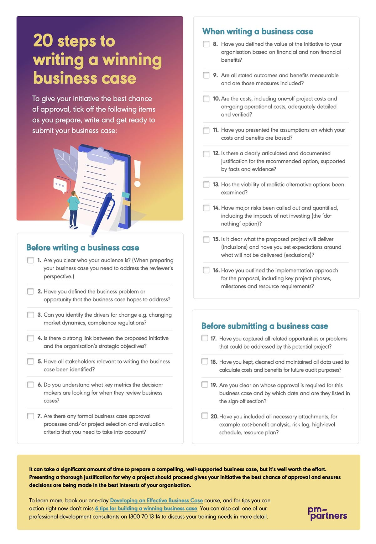 20 steps to writing a winning business case